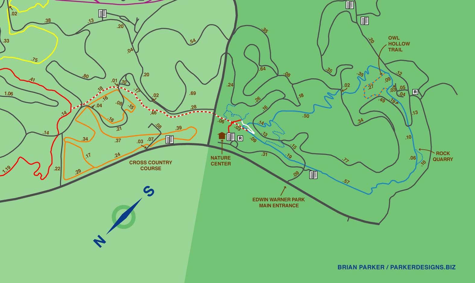 Edwin Warner Park Map Maps of the Warner Parks Edwin Warner Park Map